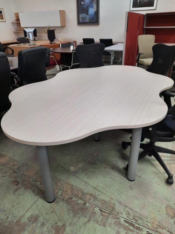 6 Person Conference Table, White Chocolate Top, Tungsten Base